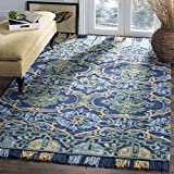 Cheap Safavieh Blossom Collection BLM422A Floral Vines Navy and Green Premium Wool Area Rug (5′ x 8′)