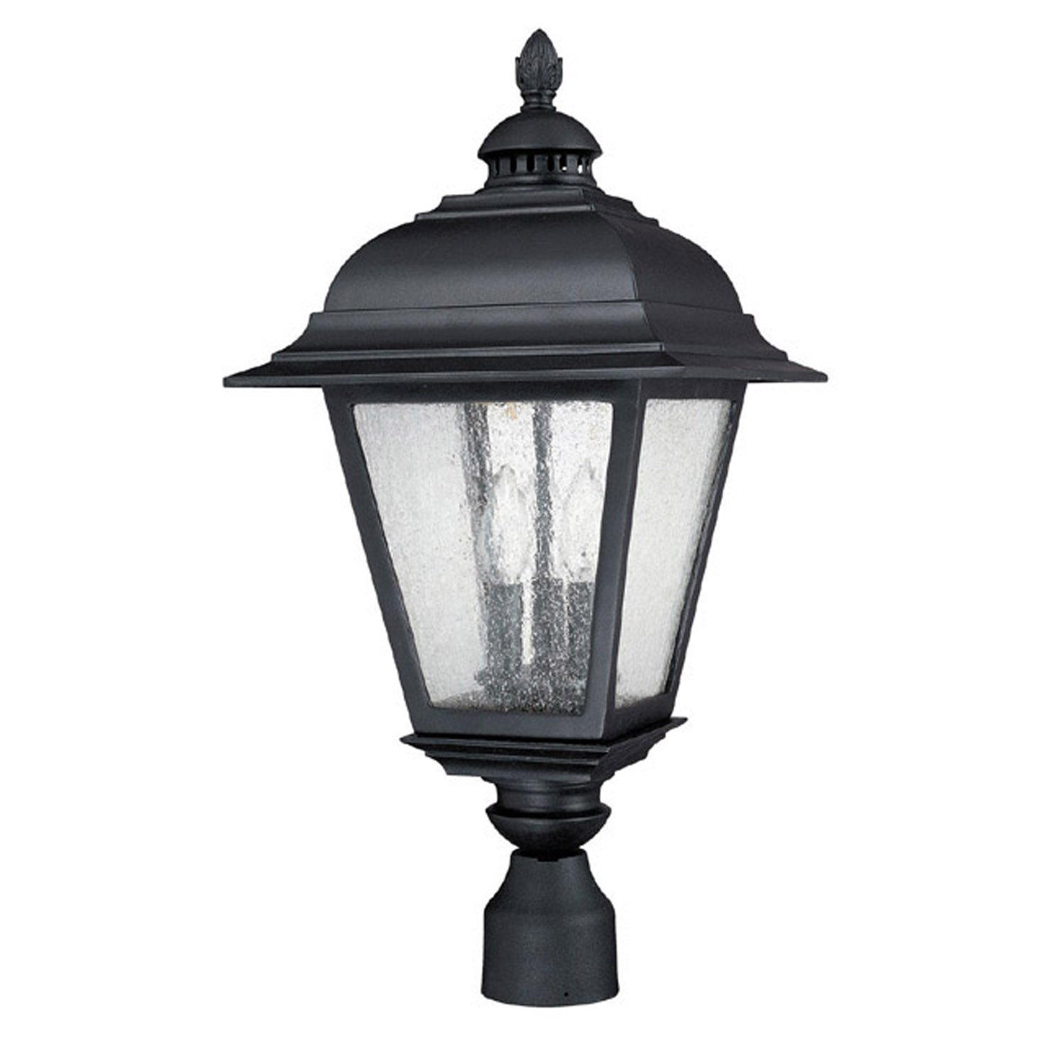 Capital Lighting 9967BK Outdoor Post Lantern with Seeded Glass Shades, Black Finish