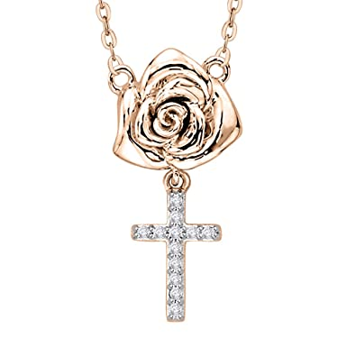 Amazon diamond rose cross pendant necklace in 10k rose gold 1 diamond rose cross pendant necklace in 10k rose gold 120 cttw aloadofball Image collections