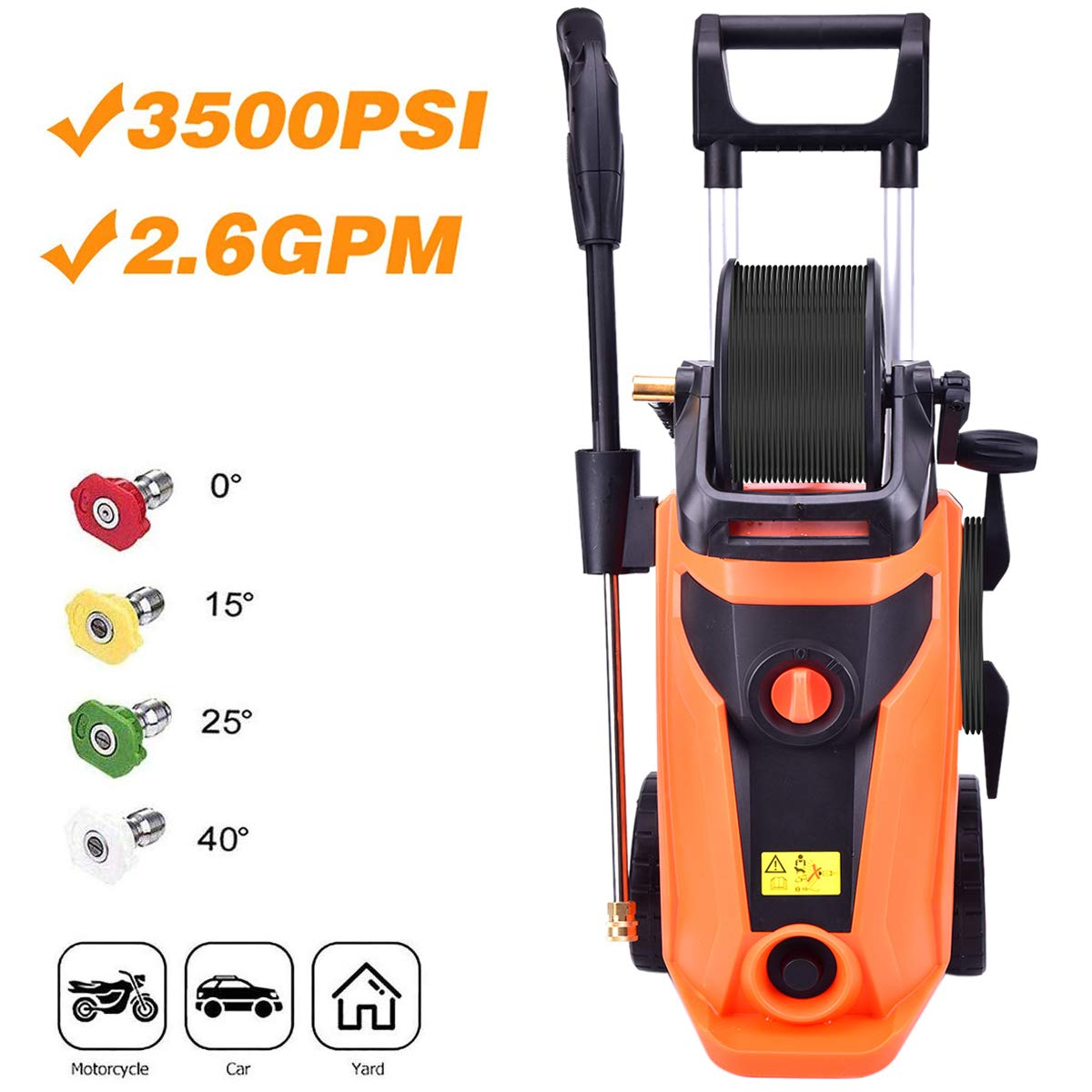 Richo 3000PSI Electric High Pressure Washer 1.8GPM 1800W Portable Power Washer with Hose Reel and 5 Interchangeable Nozzles