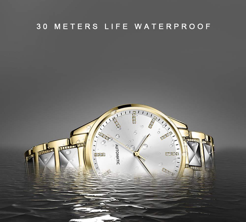 N·XHXL mäns automatiska mekaniska klocka, herrmode glas strass urtavla klocka 3ATM vattentät business casual armbandsur med stålrem Vitt