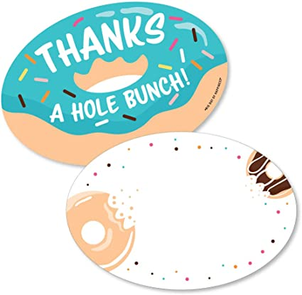 Set of 12 Donut Thank You Cards and Envelopes