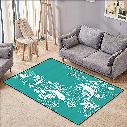 Anti-Static Rug Sea Animals Dolphins Flowers Sea Life Floral Pattern Starfish Coral Seashell Wallpaper Sea Green White Super Absorbent mud W5'9 xL3'9