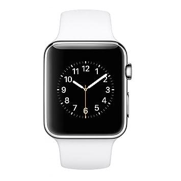 Apple Watch Sport - Smartwatch iOS con caja de acero inoxidable en plata (correa deportiva 42mm, blanca), Primera Generación, Versión Anterior