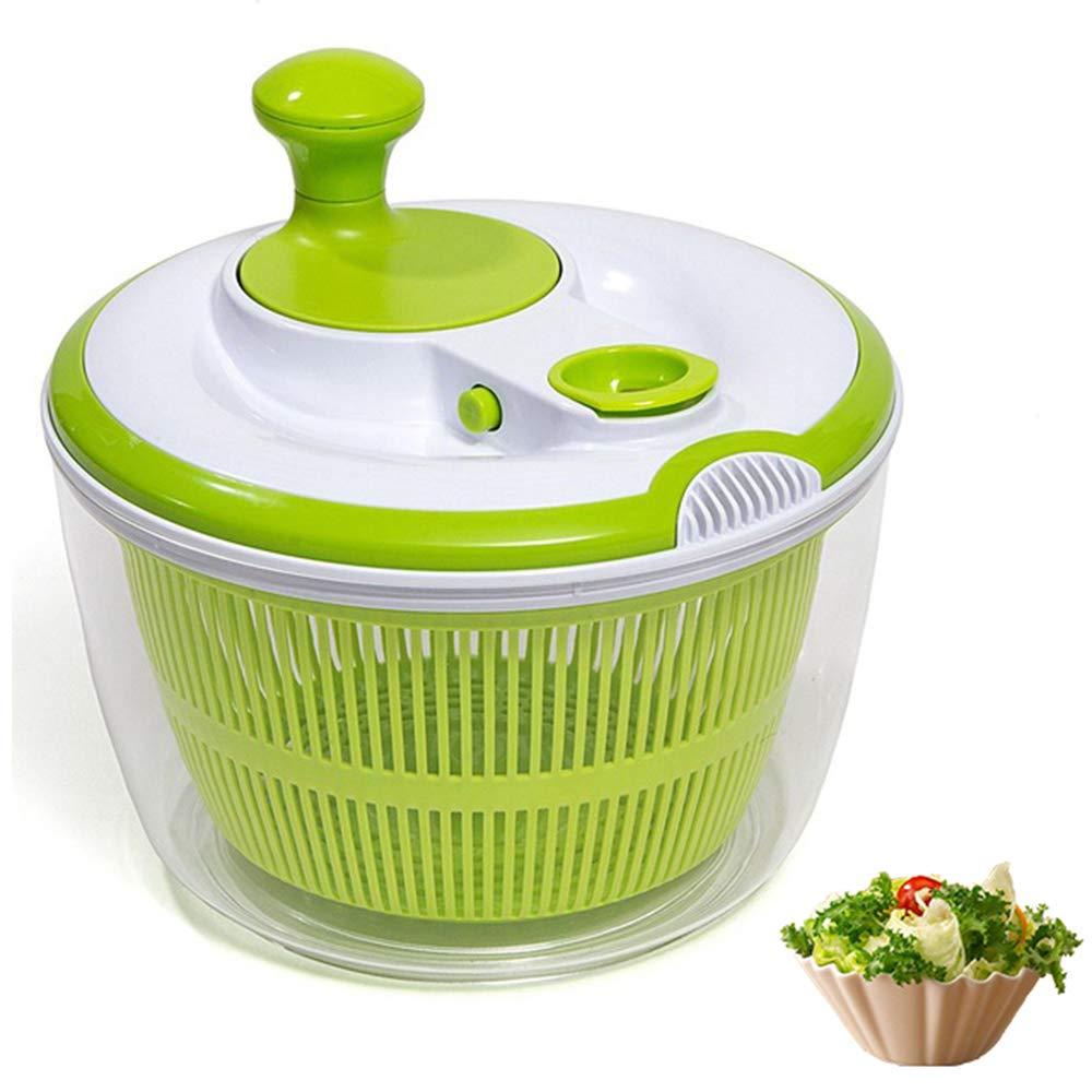 DenSan Multifunction Jumbo 4.5 Quart Salad Spinner, Manual Good Grips Vegetables Dryer Dry Off Drain Quick Filter Lettuce Spinner(Green) BOG-1022
