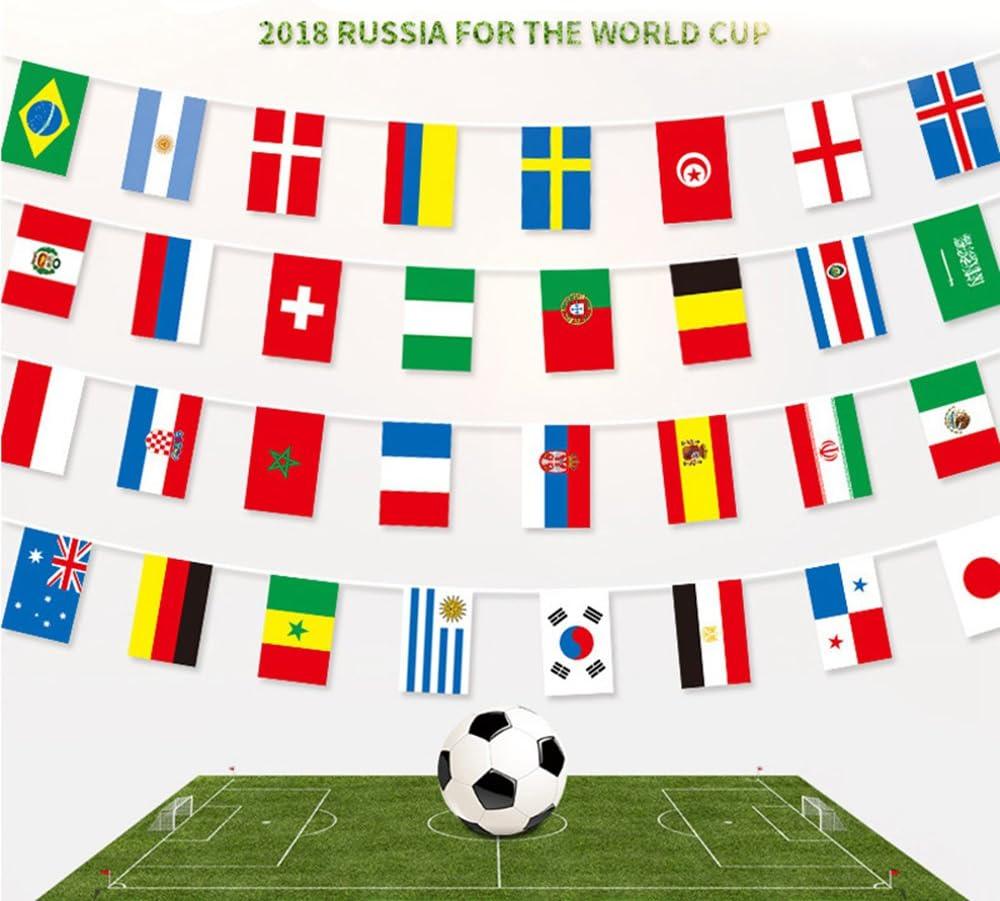 Dewanxin-Bandera Copa Mundial de la FIFA 2018 32 Banderas Nacionales, 32 Equipos Fútbol Bandera de Cuerda Bandera Banderín Bunting Banners Decoración para Interior o Exterior, Club Deportivo A: Amazon.es: Juguetes y juegos