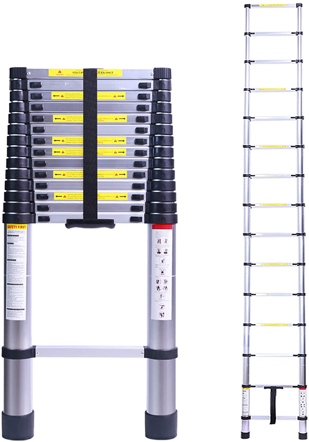 Terokota 19.7FT Superhigh Collapsible Telescoping Ladder, Aluminum Telescoping Ladders, Lightweight Collapsible Ladder Extension for RV, Loft, Home, Attic, 330LB Capacity