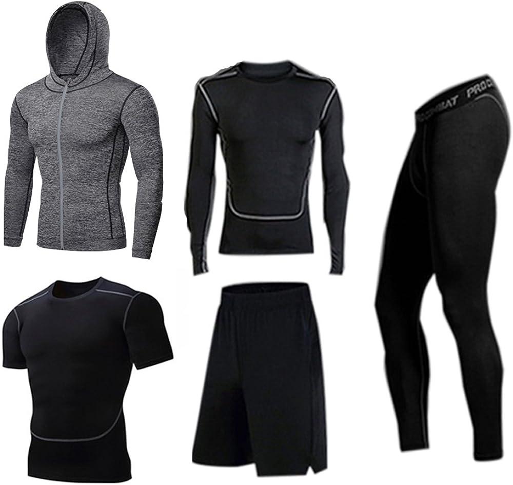 BUYJYA 5Pcs Men's Compression Pants Shirt Top Long Sleeve Jacket Set Suit at  Men's Clothing store