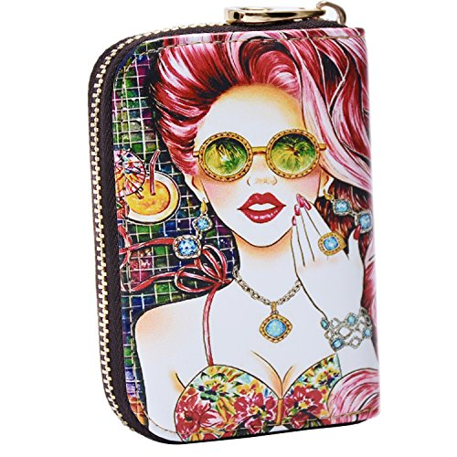 Fmc Woman Card Holder Leather Printed Cute Cartoon Girl Credit Card Case Fashion Card Purse Wallet10 Card Slots And 2 Bill Sections Multicolor