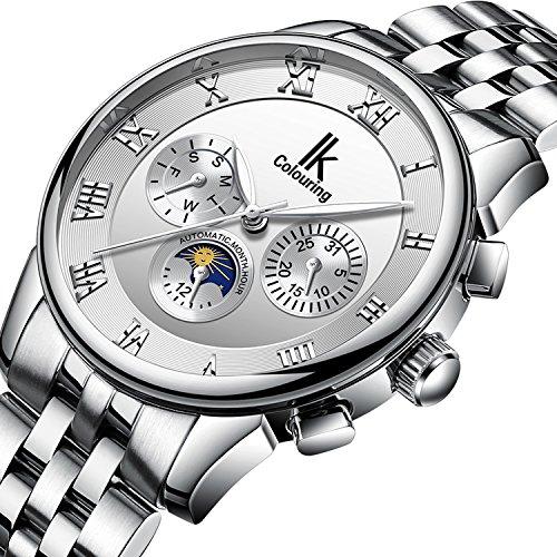(Bestn Men's Mechanical Watch Automatic Moon Creative Waterproof Calendar Weekly,Roman Numeral Business Casual Stainless Steel Strap)