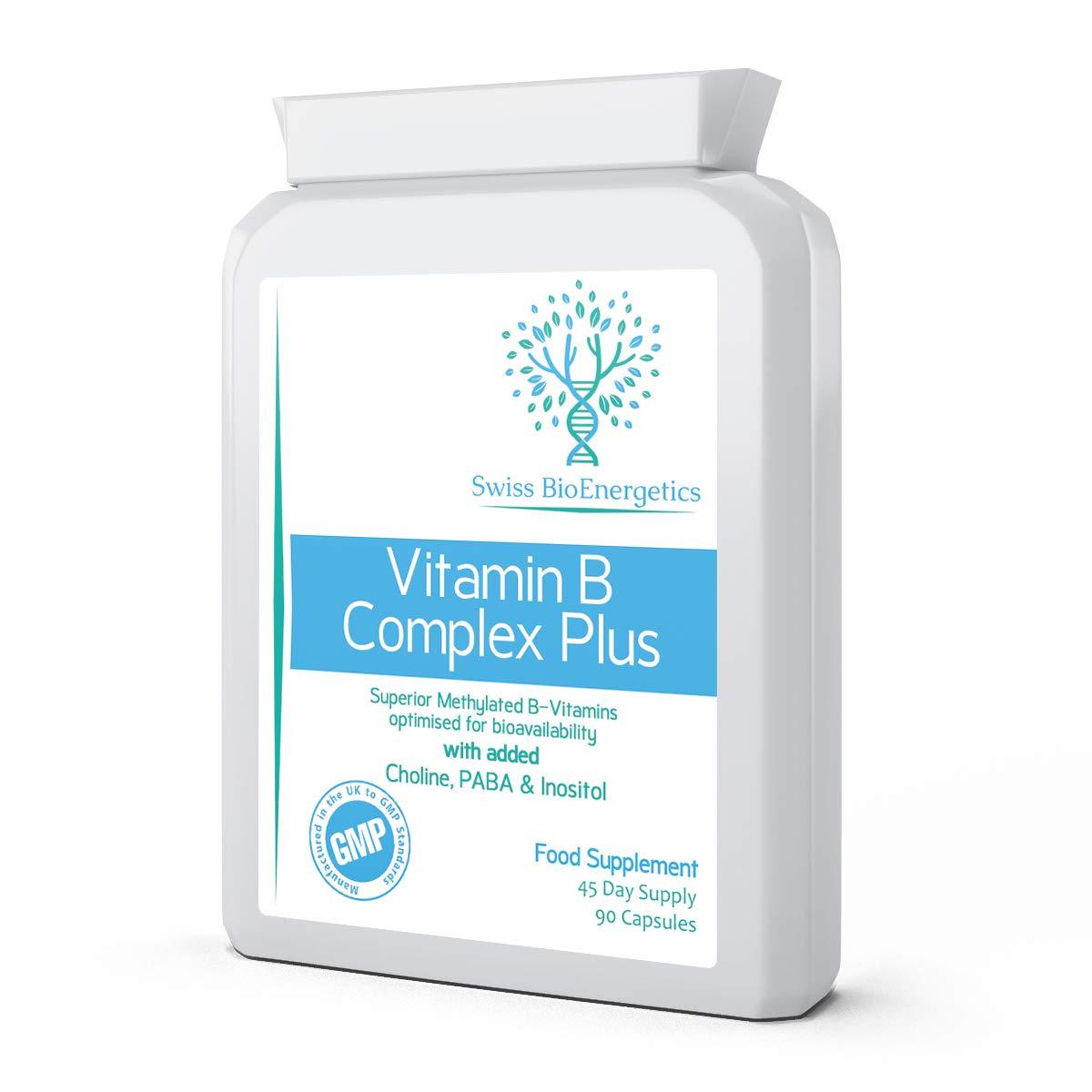 Vitamin B Complex Plus - 90 Capsules - Superior Methylated Formula with Added Choline, PABA & Inositol - Includes Essential Multi B-Vitamins B1, B2, B3, B5, B6, B12, Biotin & Folate