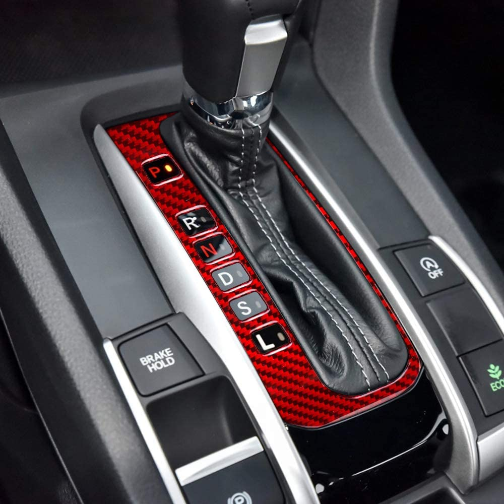 BLAKAYA Compatible with Interior Carbon Fiber Interior Shift Gear Panel Cover Trim for Honda Civic 2020 2019 2018 2017 2016 (Red)