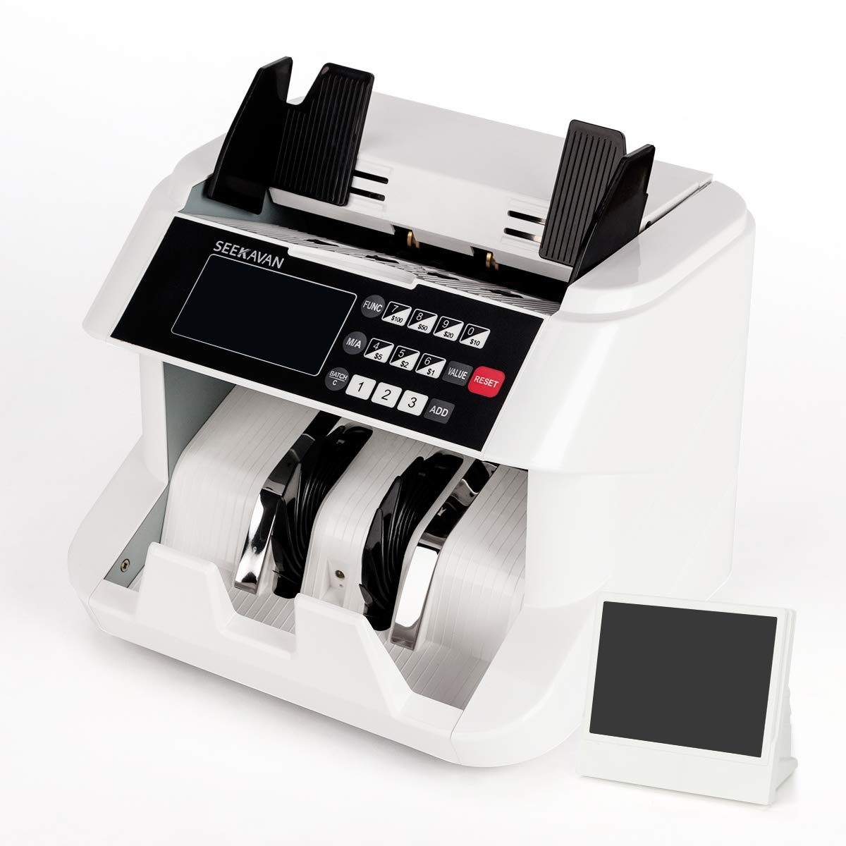 Seekavan Money Counter with UV/MG/IR Counterfeit Detection, High Speed Bill Counter with Single Denomination ValuCount, 2 Year Warranty