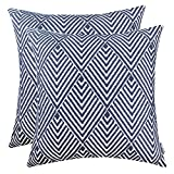 Decorative Pillow Cover - SLOW COW Cotton Embroidery Throw Pillow Covers, Geometric Diamonds Navy Decorative Throw Pillows for Sofa, 18x18 Inches, Set of 2.