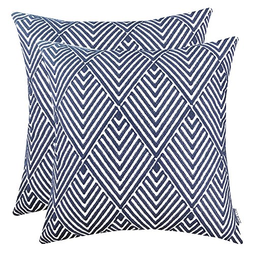 (SLOW COW Cotton Embroidery Throw Pillow Covers, Geometric Diamonds Navy Decorative Throw Pillow Cases for Sofa, 18x18 Inches, Set of)