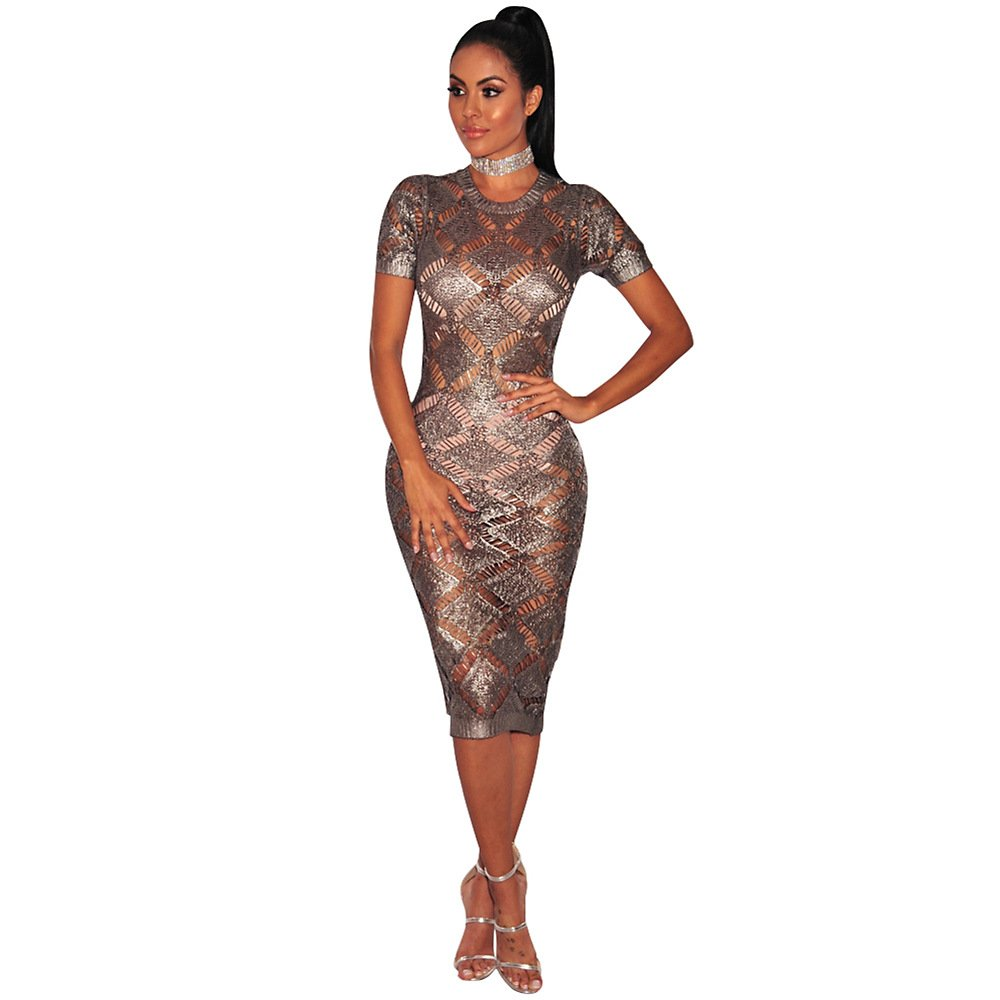 798442024e A sheer crochet midi dress featuring a round neckline, short sleeves, an  open-knit design, a bodycon silhouette, and scalloped trim. (Knee Length)