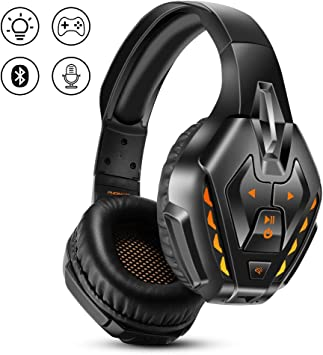 PHOINIKAS Auriculares Gaming para PS4, Auriculares con Cable para Juegos para Xbox One, PC, Nintendo Switch, Auriculares Inalámbricos Bluetooth Music con Mic y 7.1 Bass Surround -Orange: Amazon.es: Electrónica