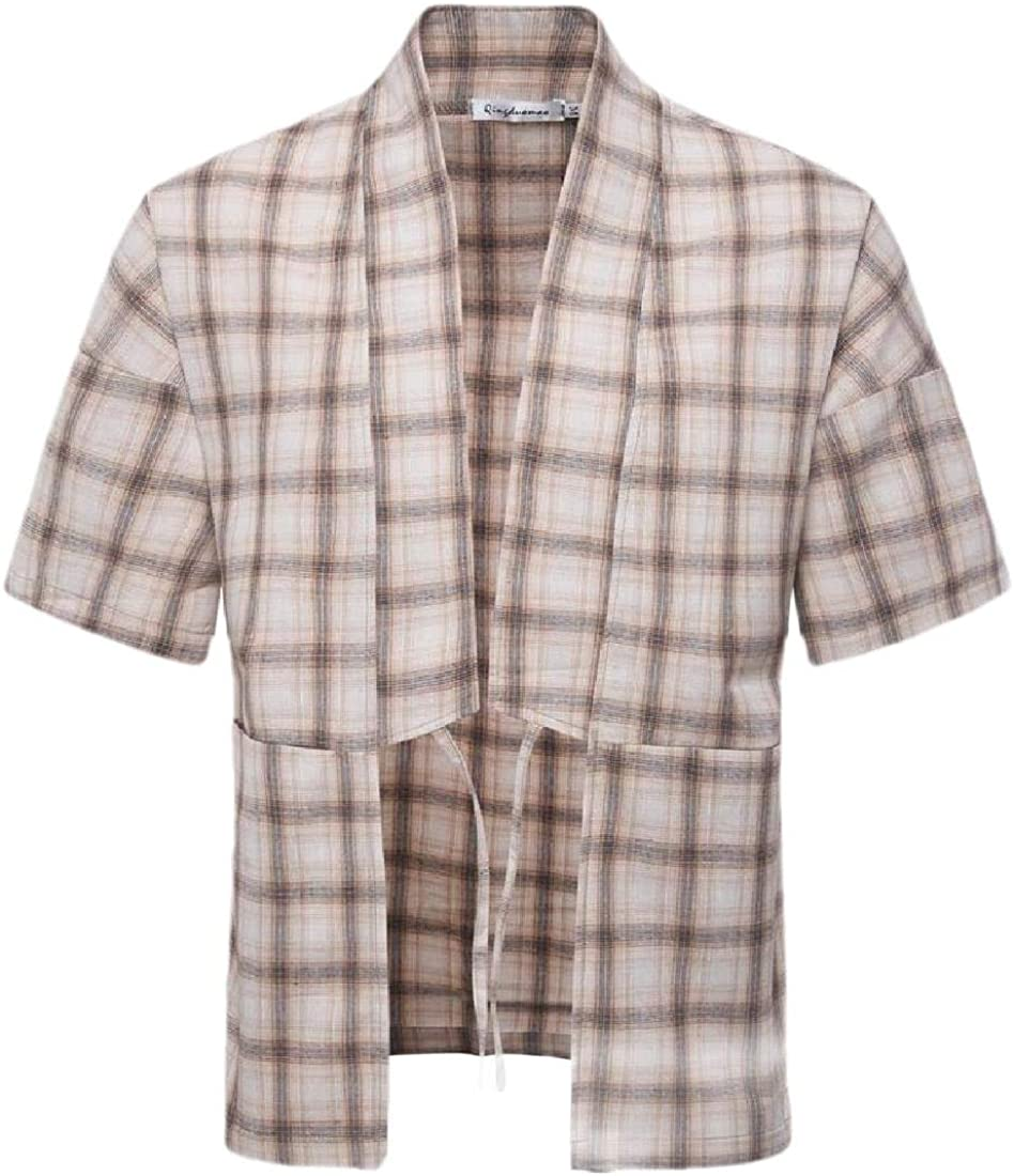 Gocgt Mens Summer Loose Short Sleeve Plaid Open Front Pajama Blouses Tops Shirt