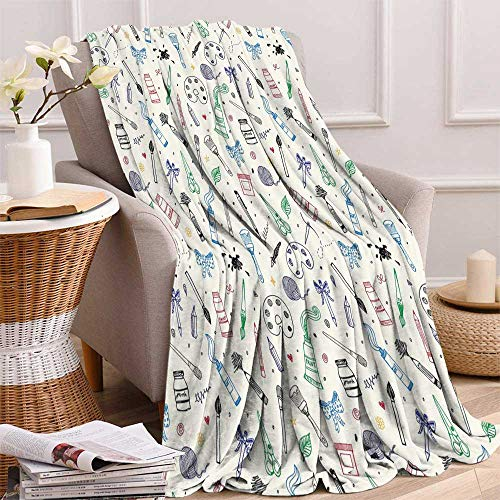 FreeKite Abstract Flannel blanketArtistic Painting Motif Brush Color Palette Ribbon Dye Scissor Craftsmanhip ThemeAvailable in a Variety of Styles and Colors W60.23 x L80.31 Inch Multicolor