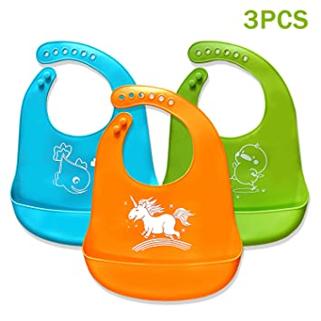 Baby Bib Waterproof Premium Comfortable Soft Silicone Easily Wipes Clean Feeding