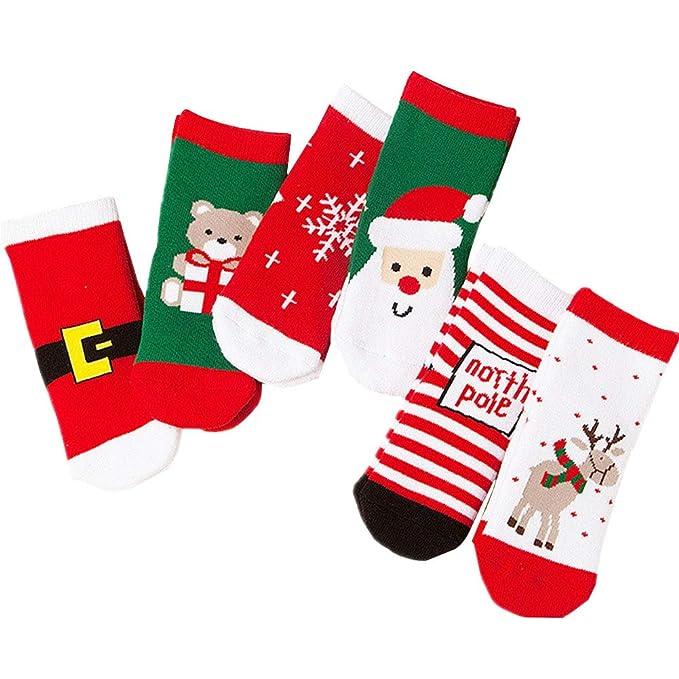6 Pares Navidad Calcetín Lindo de Algodón Animal de Dibujos Animados Reno de Santa Claus Antideslizante Unisex Calcetines de Navidad Regalos para Ni?o: ...
