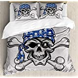 Skull Duvet Cover Set, 4 Piece Queen Bedding Sets Soft Plush Microfiber Bedspread Comforter Cover and Pillow Shams, Scallywag Pirate Dead Head Grunge Horror Icon Evil Sailor Crossed Bones Kerchief