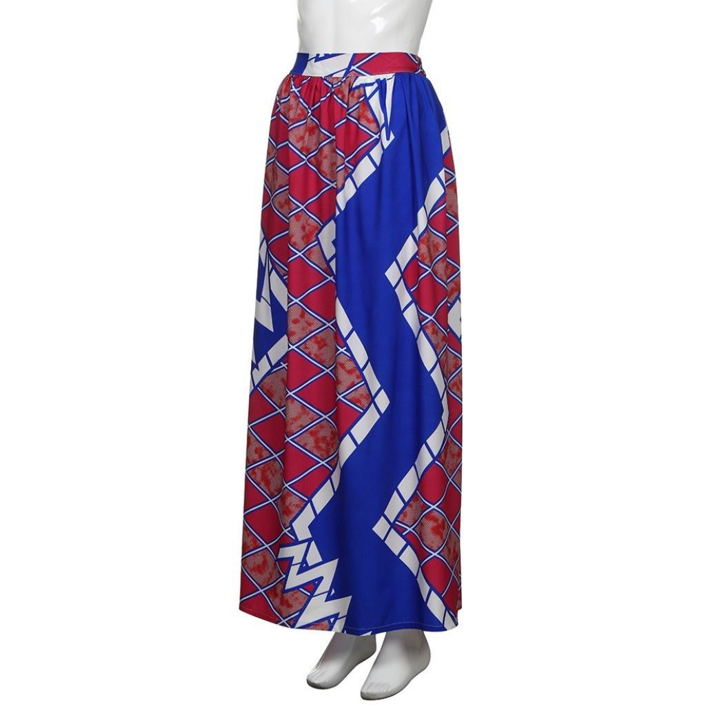07a2d70f5381 SMILEQ Women Dashiki Print Elastiic Dress Retro High Waist Party Boho Ankara  Maxi Long Skirt: Amazon.co.uk: Sports & Outdoors