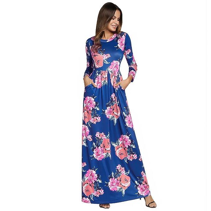Antaina Vestido Bohemio de la Impresión Floral Azul Vestido Largo de la Playa de Las Mujeres del Abrigo Maxi: Amazon.es: Ropa y accesorios