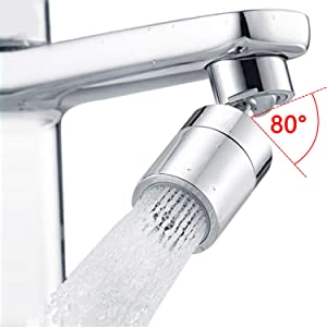 Waternymph 360 Degree Swivel Sink Faucet Aerator, Big Angle 2.5 GPM Large Flow Aerator Dual Function Kitchen Faucet Aerator,Polished Chrome
