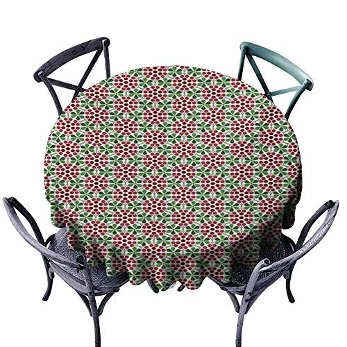 VIVIDX Spillproof Tablecloth,Nature,Minimalist Fruit Pattern in Abstract Style Cranberries with Green Leaves,Table Cover for Kitchen Dinning Tabletop Decoratio,50 INCH,Ruby Dried Rose Green ()