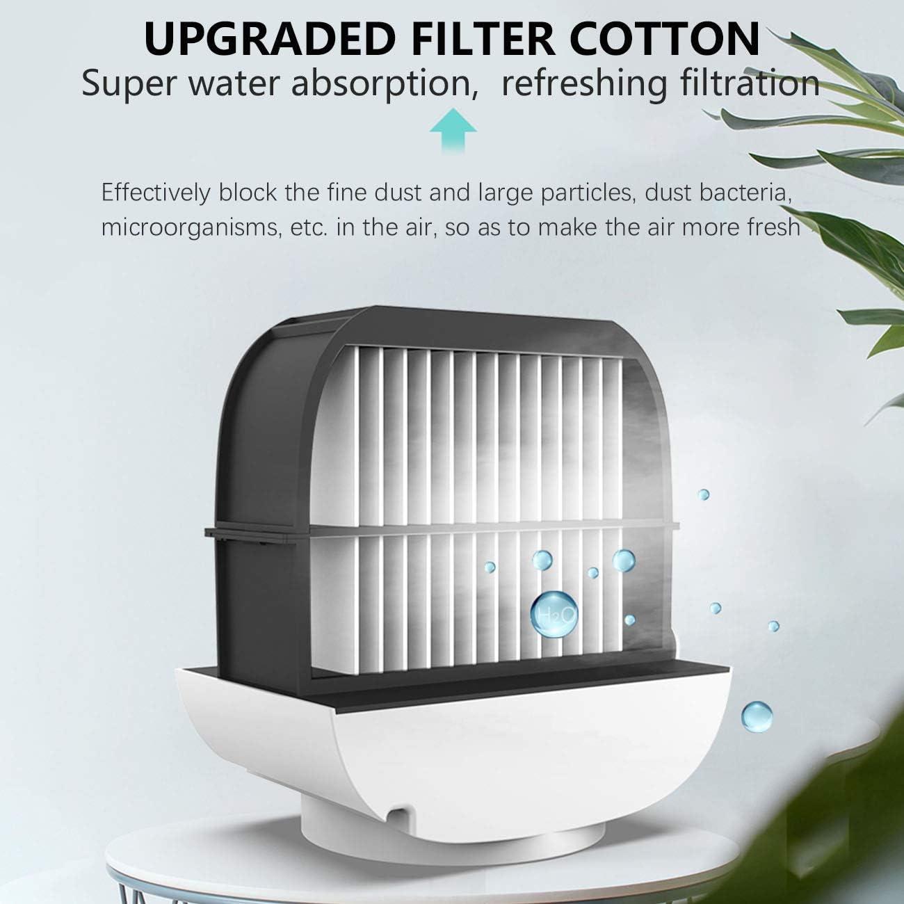 The perseids Luftkühler, Mobiles Klimagerät, 4 in 1 Verdunstungskühler, USB Ventilator, 3 Stufen und LED Nachtlicht + Filter, Mini Air Cooler für zu Hause, Büro, Auto (Weiß) Rosa