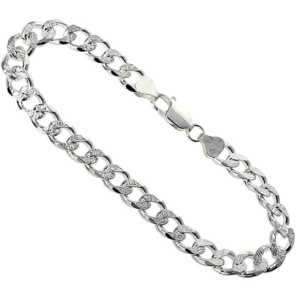 Sterling Silver Curb Cuban Link Chain Necklace 8mm Pave Cut Beveled Edges Nickel Free Italy, 26 inch
