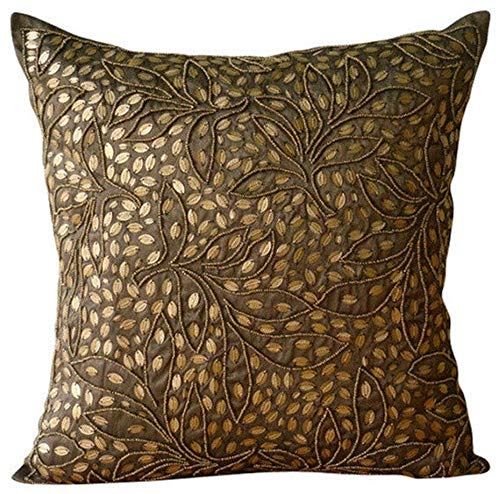 "Designer Brown Euro Sham, 26""x26"" Euro Pillow Covers, Sequins & Beaded Leaf Design Tropical Theme Euro Pillow Shams, Silk Euro Sham Covers, Floral Contemporary Euro Shams - Gold Leaves"