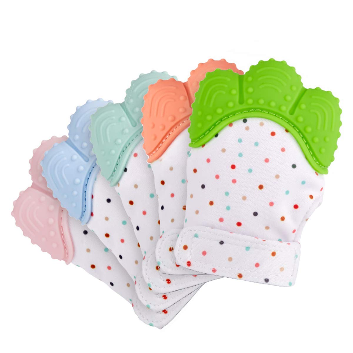 Kean Baby Teether Mitts Beauty Nymph Food-Grade Silicone Teething Baby Gloves Massage Gums Sounded Quarlz Pink