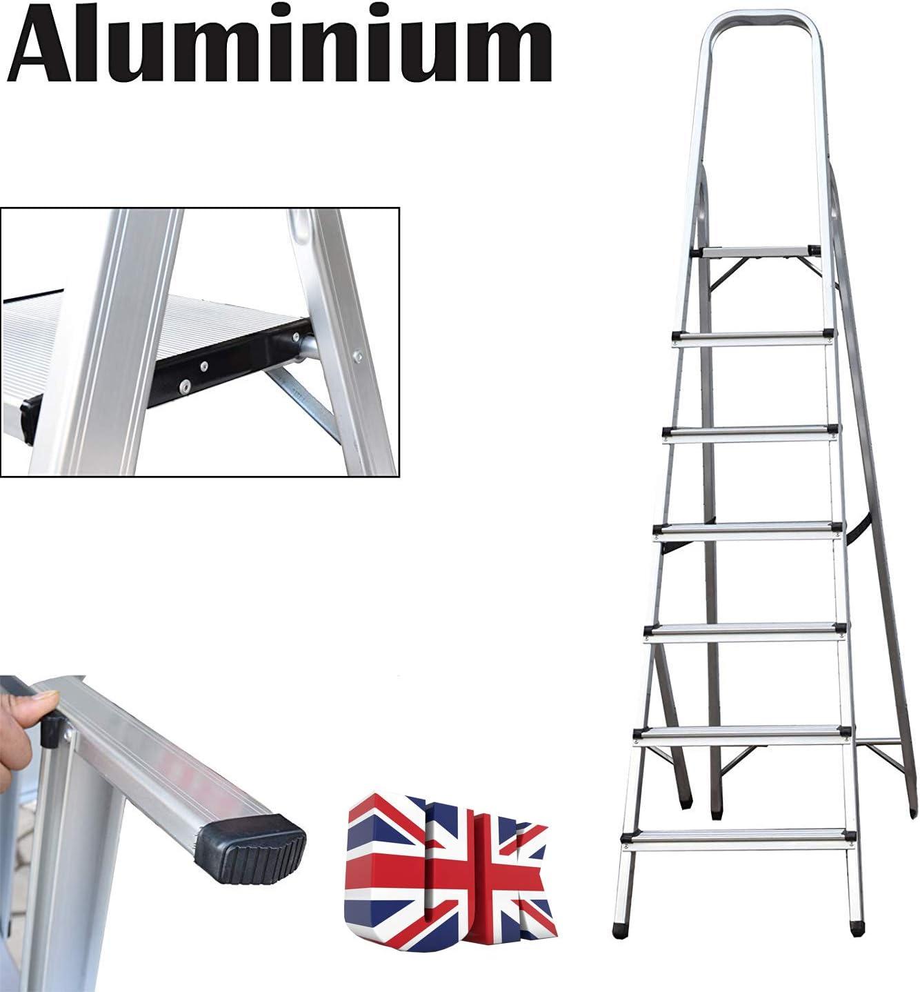 Escalera de aluminio de 7 peldaños, antideslizante, plegable, ligera, 150 kg, carga máxima para el hogar y la oficina: Amazon.es: Bricolaje y herramientas