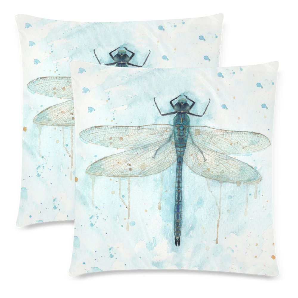 InterestPrint Custom 2 Pack Watercolor Dragonfly Throw Pillowcase 18x18 Twin Sides, Flying Animal Insect Cotton Zippered Cushion Pillow Case Covers Set Decorative