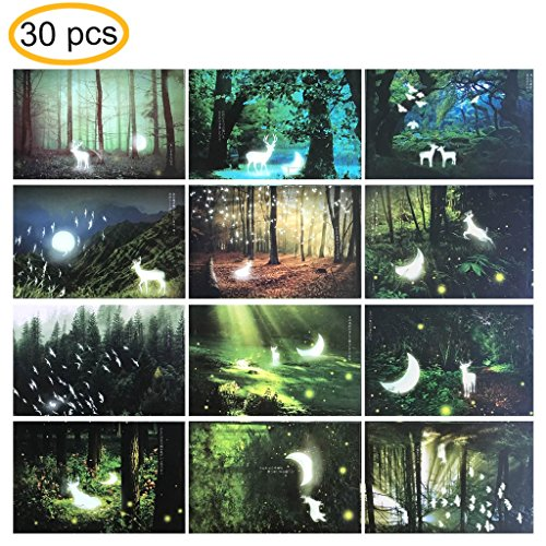 "Rumcent Postcards Deer Running in Fair Forest Postcards, Size: 14.3 x 9.3 CM (5.6"" x 3.6""), Pack of 30pcs"