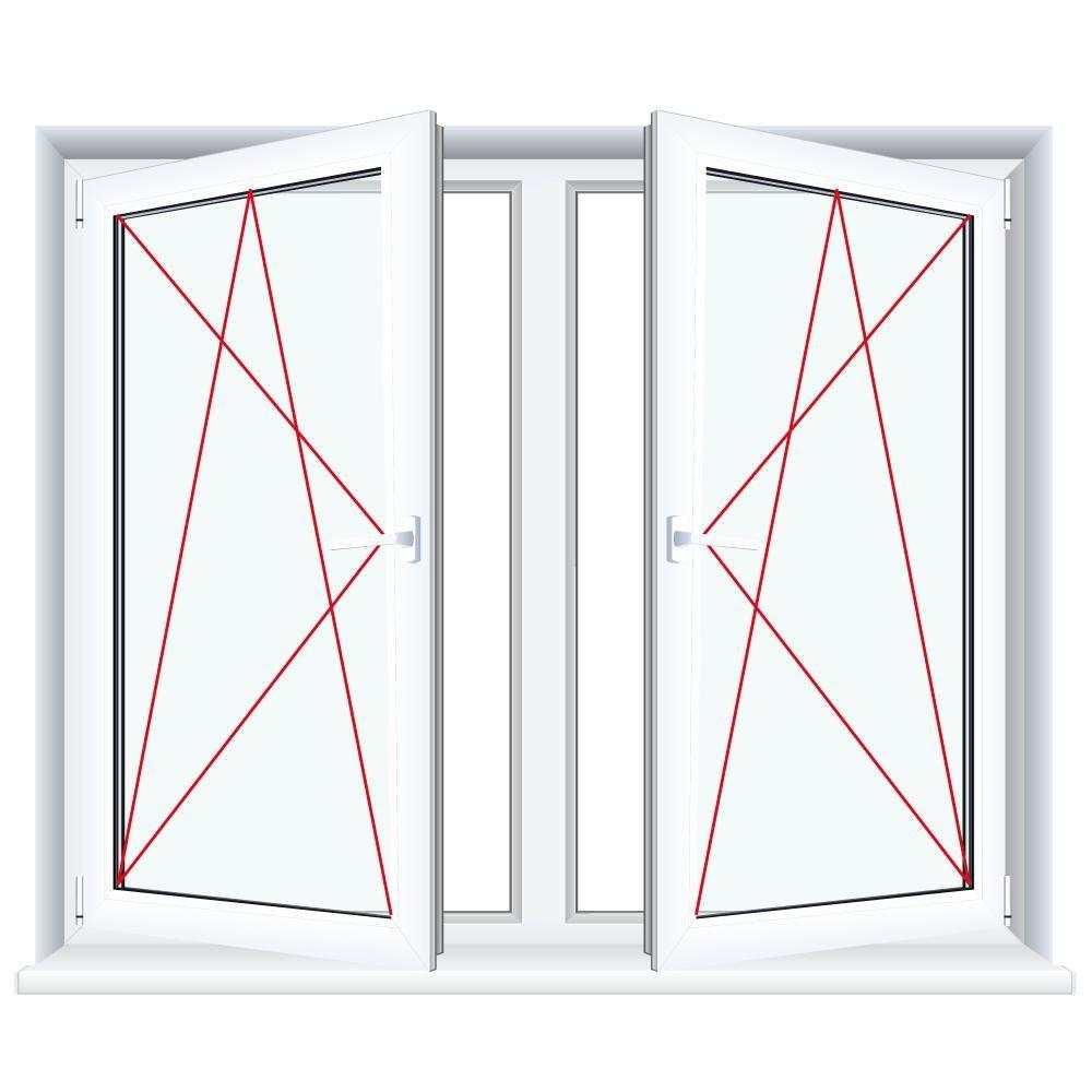 Glas:3-Fach BxH:1300x1000 2-fl/ügliges Kunststofffenster//PVC//Wei/ß Dreh-Kipp//Dreh-Kipp Fenster mit Pfosten