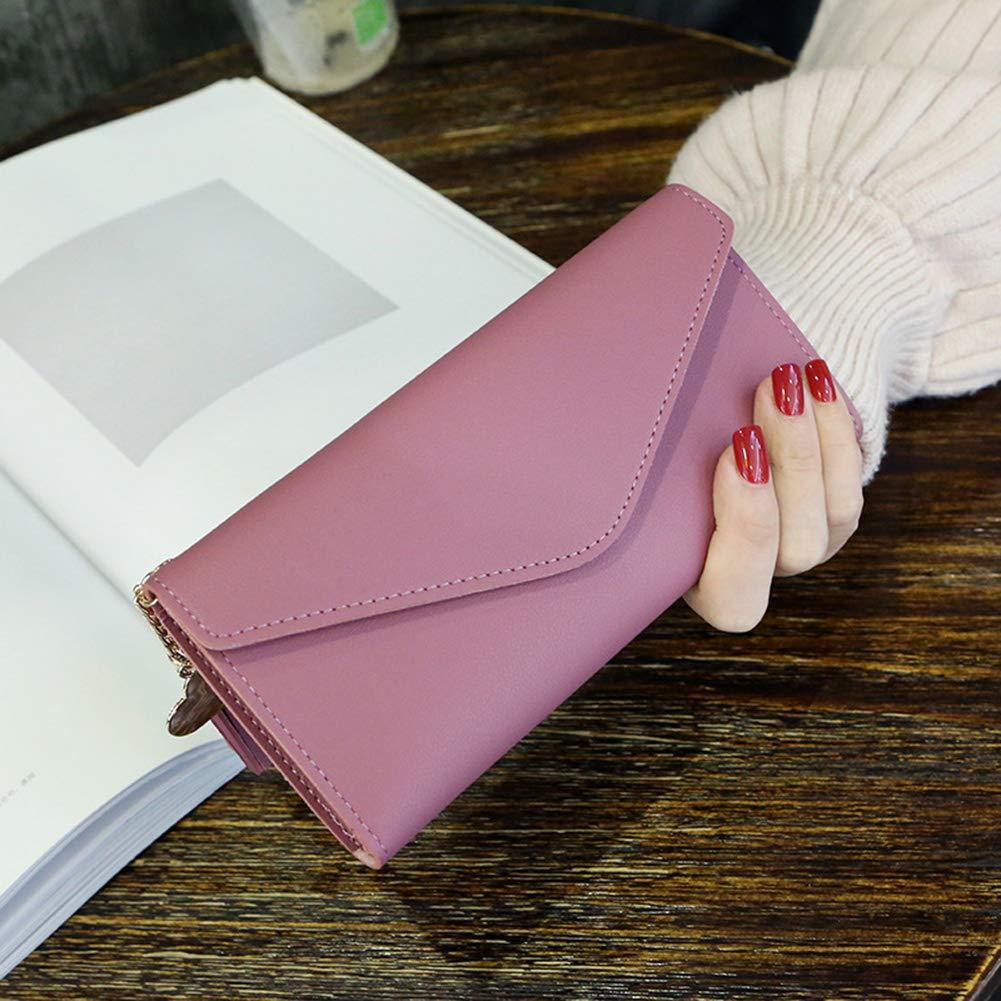 Aland Solid Color Faux Leather Women Long Purse Card Cash Holder Envelope Clutch Bag Purple by Aland (Image #7)