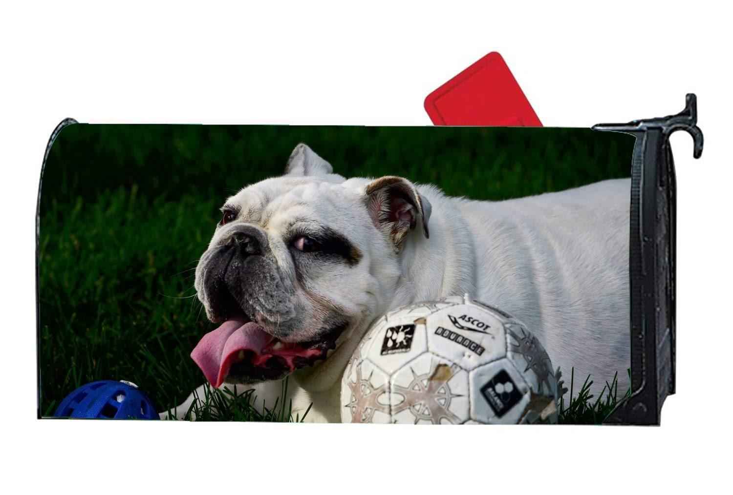 WilBstrn Dog Football Mailbox Covers Garden Decoration - Seasonal Magnetic Cover