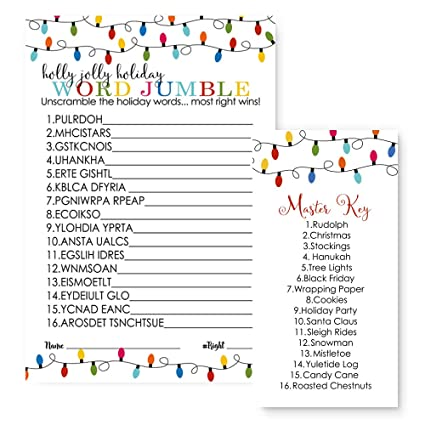 Merry Christmas Party Games Word Scramble Set of 25 Cards Festive Lights