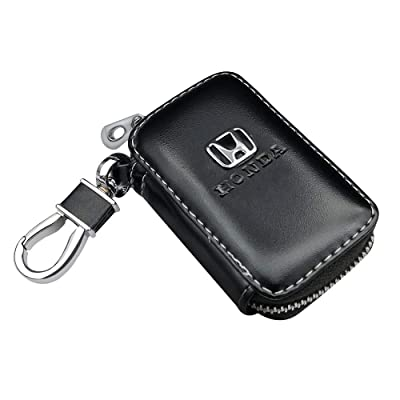 VILLSION Car Key Holder Genuine PU Leather Key Fob Case with Stainless Steel Hook with Metal Zipper Keychain, Black: Automotive
