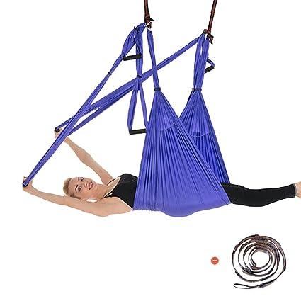 Yuanu Multifuncional Yoga Hamaca/Swing/Silla Colgante Aéreo Yoga Inversión Fitness Ejercicios Hammock para Casa Morado Talla Única