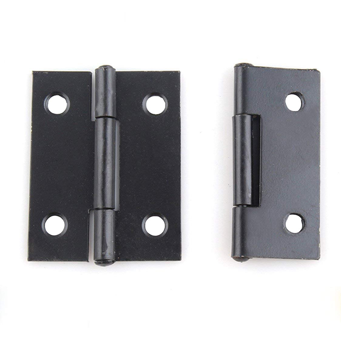 RZDEAL Light Medium Duty Door Hinges with Radius Corners 1.5 x1.2 x 0.31 in 38 x 30 x 0.8mm Matte Black 20PCS