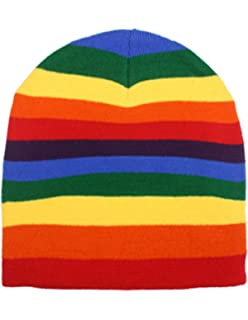 Rainbow Stripe Stripped Multi Color Knit Beanie Stocking Cap Winter Hat 307329a64c7f
