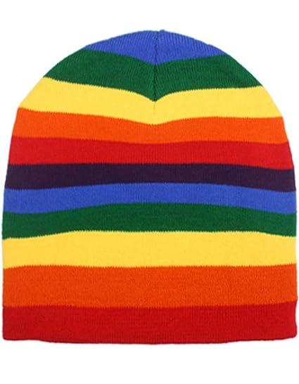 Rainbow Stripe Stripped Multi Color Knit Beanie Stocking Cap Winter ... 7ed3efe7952
