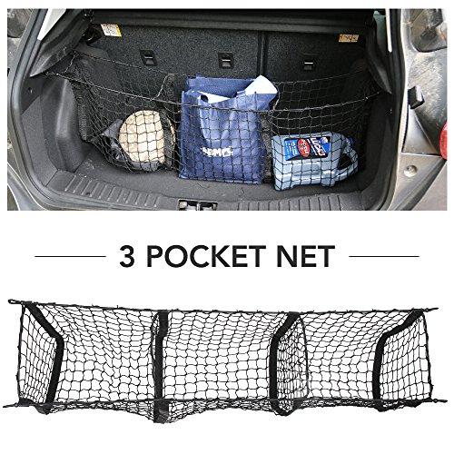 9 MOON Cargo Net- Universal Heavy Duty Stretchable Truck Net 3 Pockets Hooks - Nylon Mesh Storage Organizer Bungee Car, SUV, Pickup Truck mounting Hardware