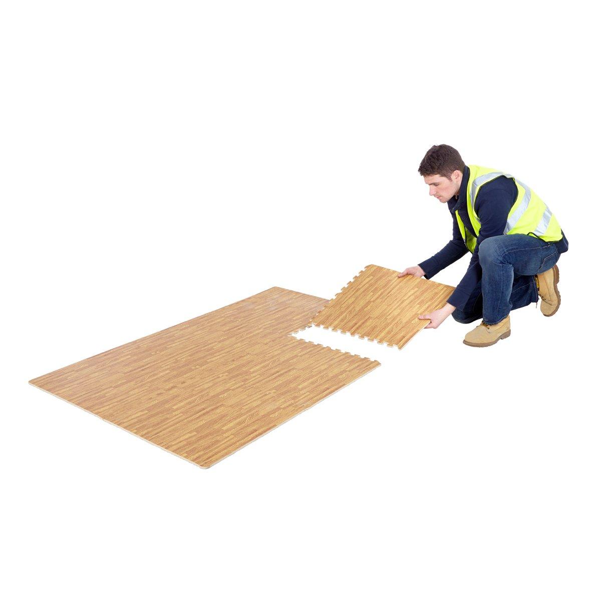 Wood effect interlocking floor tiles pack of 6 eva foam flooring wood effect interlocking floor tiles pack of 6 eva foam flooring exercise mats gym garage house amazon diy tools doublecrazyfo Image collections