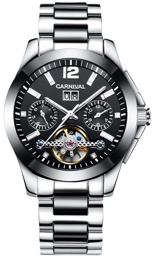 CARNIVAL Men's Complications Automatic Mechanical Watch Stainless Steel with Ceramic Case (Black)