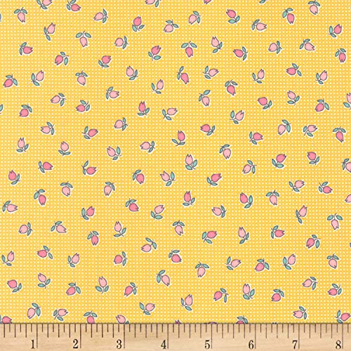 Robert Kaufman Penny's Dollhouse 2 Rosebuds Fabric, Screaming' Yellow, Fabric By The - Rosebud 2 Charms